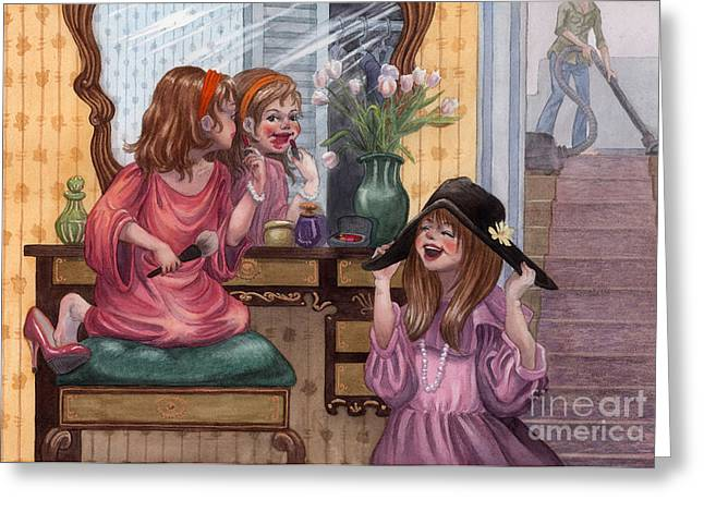 Dressing Up Greeting Cards - Girls Playing Dress Up Greeting Card by Isabella Kung