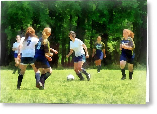 Susan Savad Greeting Cards - Girls Playing Soccer Greeting Card by Susan Savad