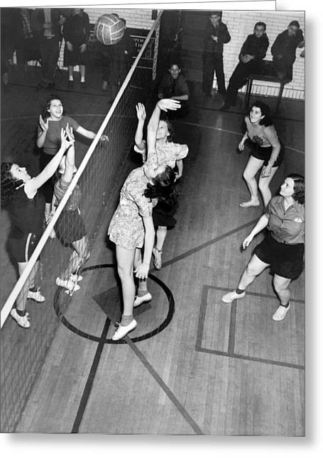 Sportswoman Greeting Cards - Girls Playing Volleyball Greeting Card by Underwood Archives