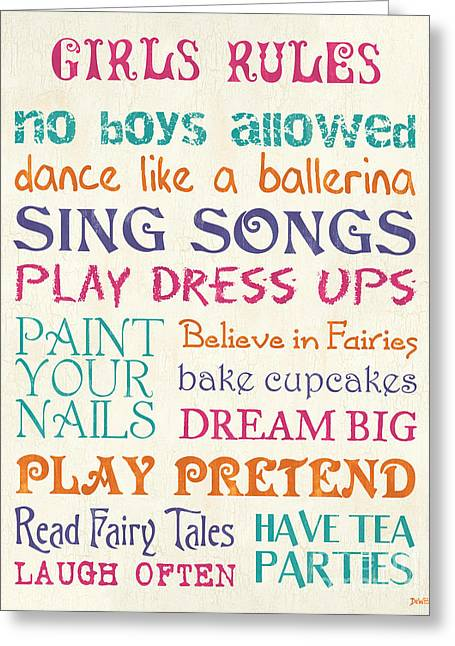 Kid Paintings Greeting Cards - Girls Rules Greeting Card by Debbie DeWitt