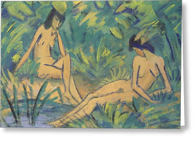 Primitive Greeting Cards - Girls Sitting By The Water Greeting Card by Otto Muller or Mueller