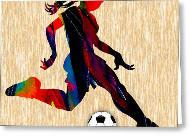 Girls Soccer Art Greeting Cards - Girls Soccer Greeting Card by Marvin Blaine