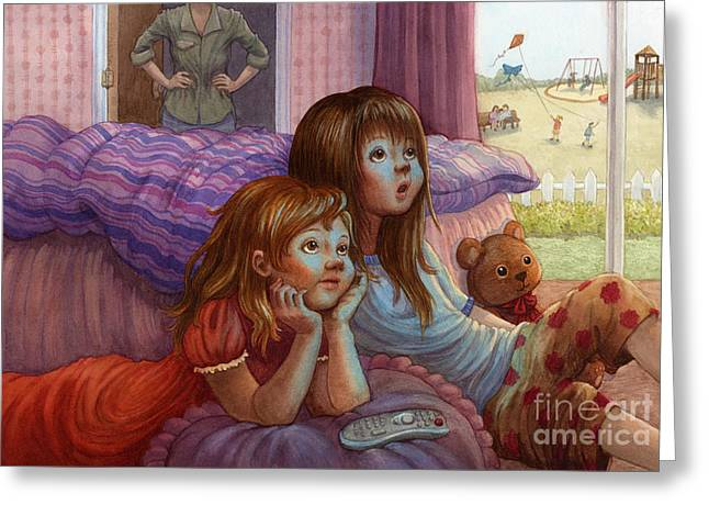 Pajamas Greeting Cards - Girls Staring at TV Greeting Card by Isabella Kung