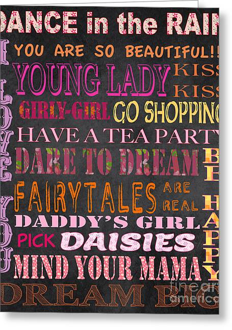 Black Lodge Greeting Cards - Girls Typography on Chalkboard Greeting Card by Jean Plout