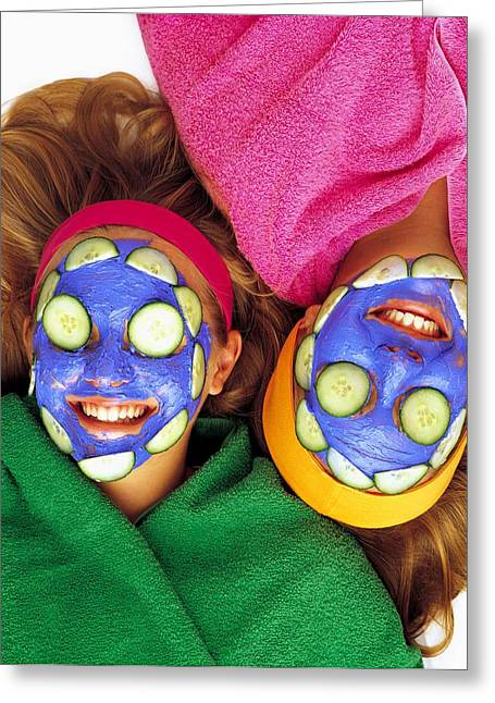 18-19 Years Greeting Cards - Girls With Cucumber And Face Mask Greeting Card by Ron Nickel