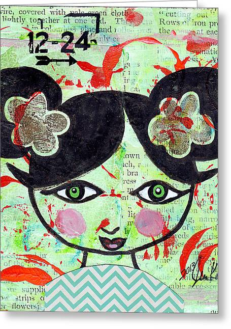 Chihuahua Artwork Greeting Cards - Girly Girl #4 Greeting Card by Jen Kelly Hirai
