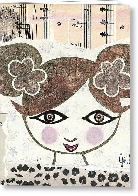 Chihuahua Artwork Greeting Cards - Girly Girl #8 Greeting Card by Jen Kelly Hirai
