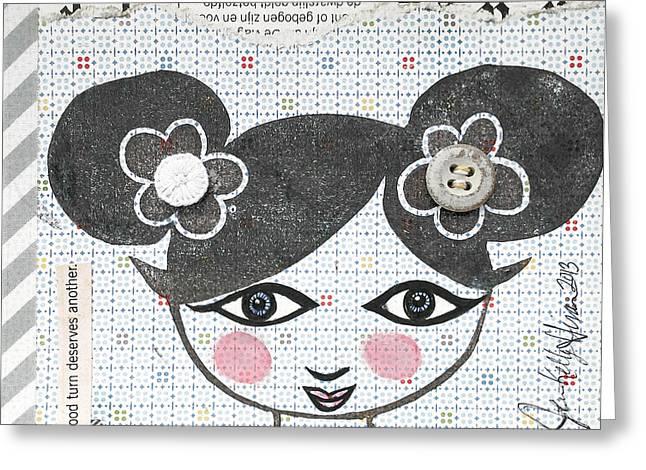 Chihuahua Artwork Greeting Cards - Girly Girl #9 Greeting Card by Jen Kelly Hirai