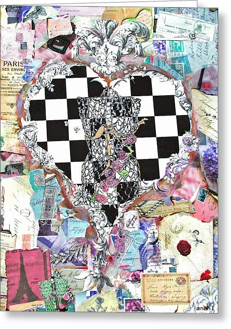 Romance Mixed Media Greeting Cards - Girly Girl Heart Greeting Card by Anahi DeCanio