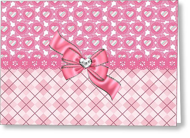 Argyle Digital Greeting Cards - Girly Pink Hearts and Argyle Greeting Card by DMiller