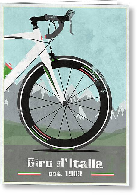 Wiggins Greeting Cards - Giro dItalia Bike Greeting Card by Andy Scullion