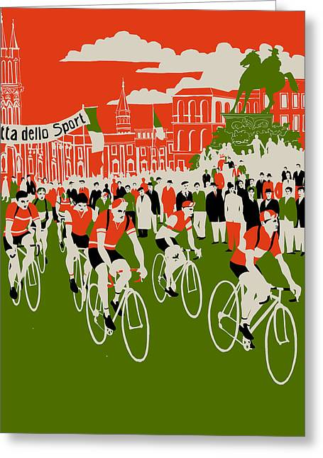 Bike Race Greeting Cards - Giro Greeting Card by Eliza Southwood