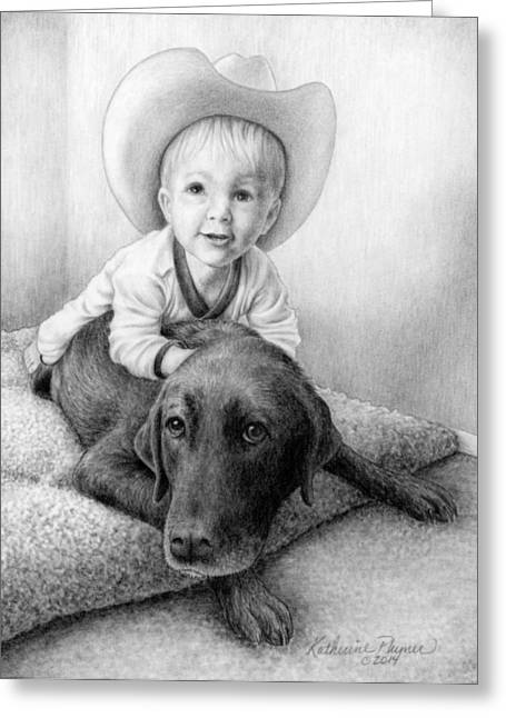 Lab Drawings Greeting Cards - Git Along Big Doggie Greeting Card by Katherine Plumer