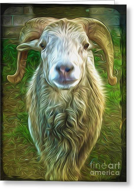 Git Yer Goat Greeting Card by Gregory Dyer