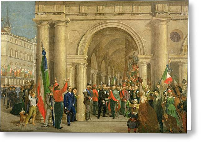 Honour Greeting Cards - Giuseppe Garibaldi In Vicenza, 7th March 1867 Oil On Canvas Greeting Card by Italian School