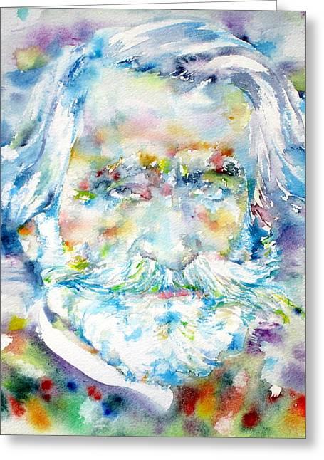 Mustache Greeting Cards - GIUSEPPE VERDI - watercolor portrait Greeting Card by Fabrizio Cassetta