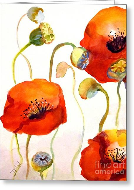 Abstract California Poppies Greeting Cards - Give Me Poppies Greeting Card by Delilah  Smith