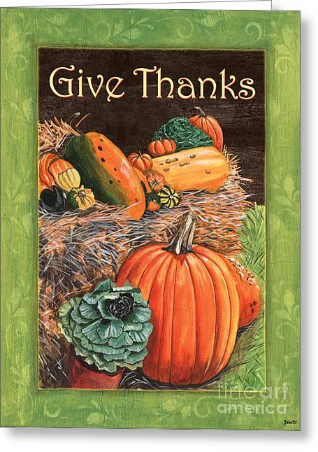Gourds Greeting Cards - Give Thanks Greeting Card by Debbie DeWitt