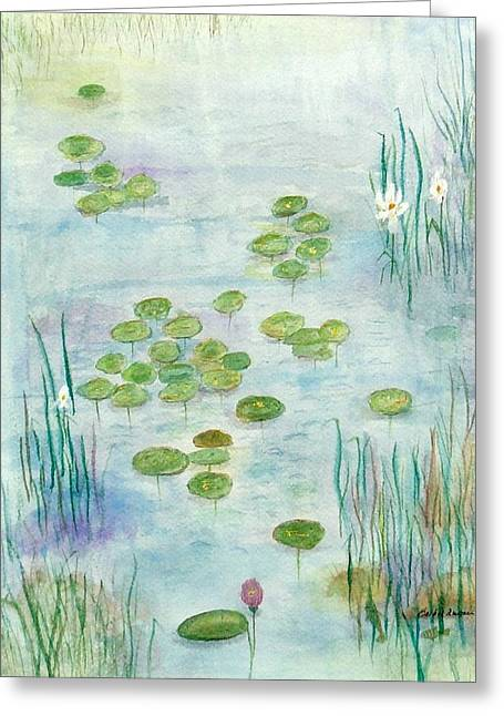 Europe Mixed Media Greeting Cards - Giverny Dreaming Greeting Card by Barbie Corbett-Newmin