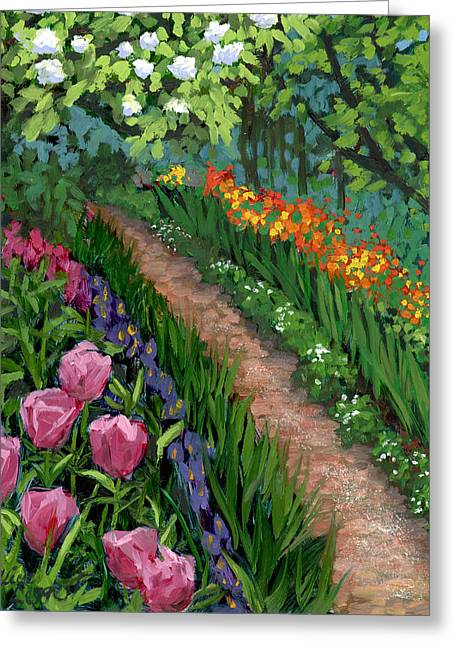 Purple Irises Greeting Cards - Giverny Garden Greeting Card by Alice Leggett