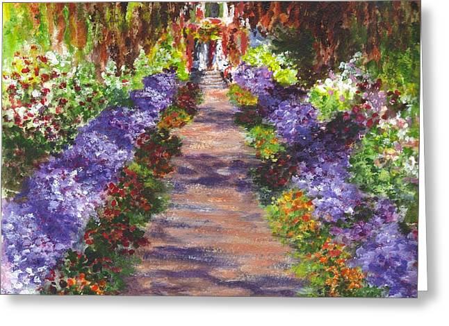 Giverny Gardens Pathway After Monet  Greeting Card by Carol Wisniewski