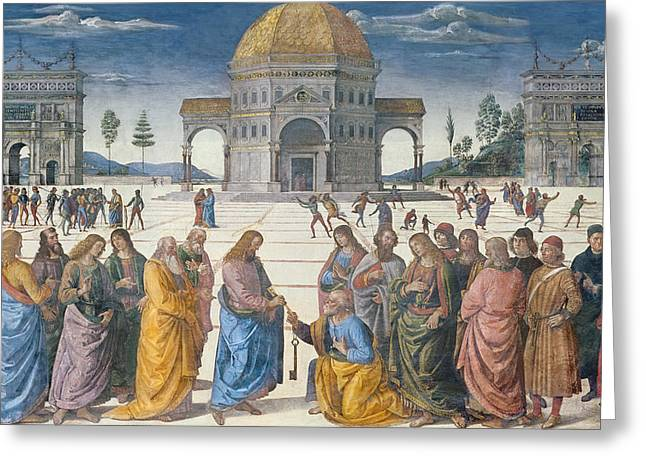 Dgt Greeting Cards - Giving Of The Keys To St. Peter, From The Sistine Chapel, 1481 Fresco Greeting Card by Pietro Perugino