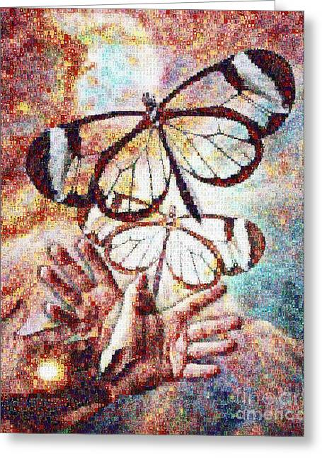 Giving Transforms The Giver Greeting Card by Robert Silvers Photomosaic from Anne Watson Composition
