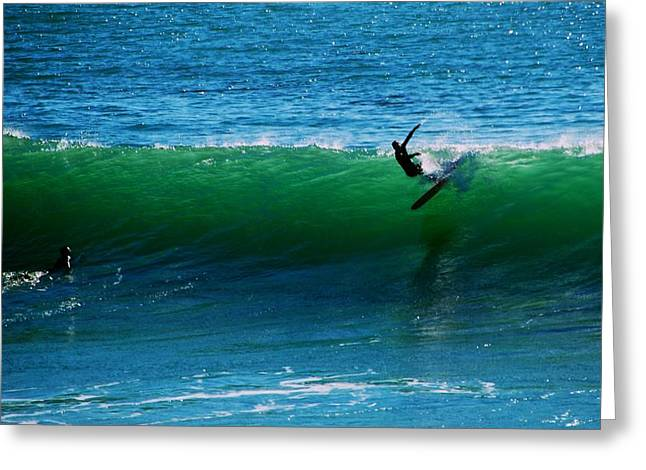 Santa Cruz Surfing Greeting Cards - Giving Your Best  Greeting Card by Eric Tressler