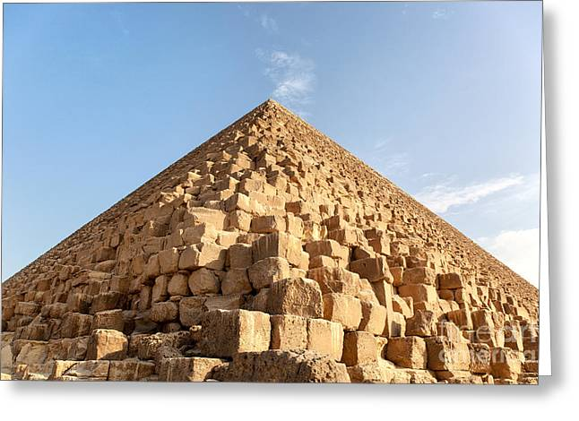 Egyptian Photographs Greeting Cards - Giza pyramid detail Greeting Card by Jane Rix