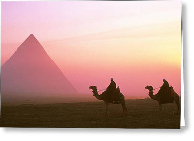 Pharaoh Photographs Greeting Cards - Giza Pyramids Egypt Greeting Card by Panoramic Images