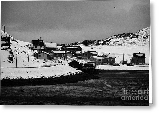 Scandanavian Greeting Cards - Gjenreisingshus Apartment Houses Strandgata Havoysund Finnmark Greeting Card by Joe Fox
