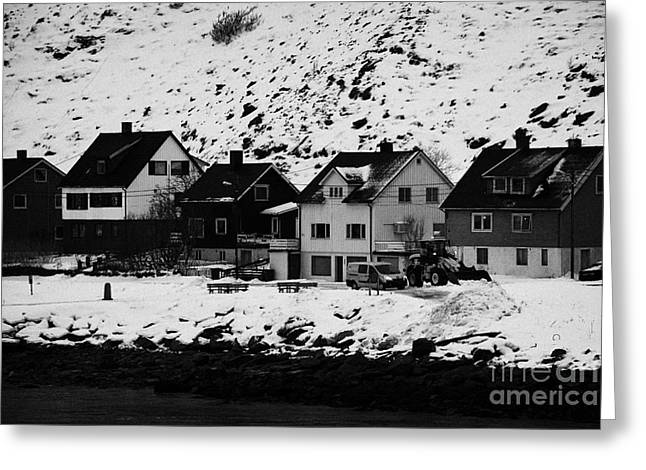 Scandanavian Greeting Cards - Gjenreisingshus Apartment Houses Strandgata Havoysund Finnmark Norway Greeting Card by Joe Fox