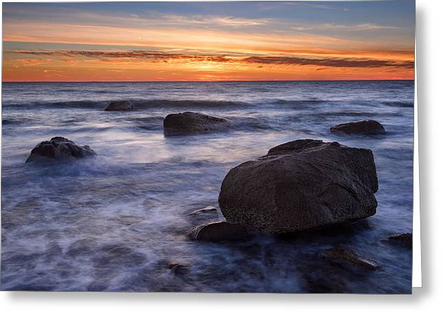 Falmouth Massachusetts Greeting Cards - Glacial Boulders on Shore Greeting Card by Michael Blanchette