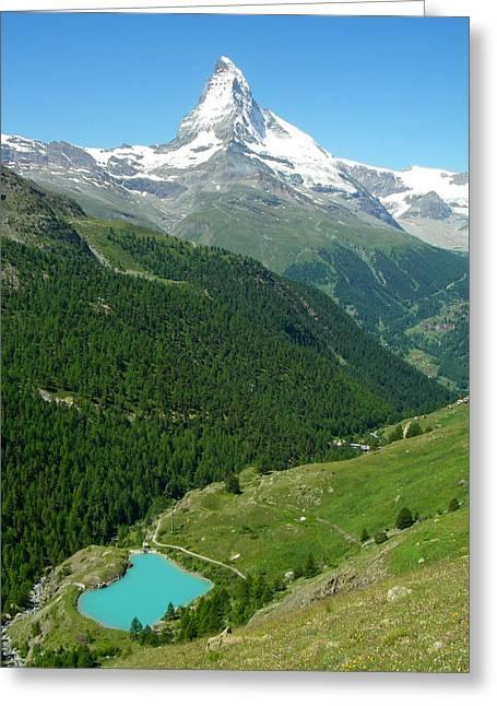 Geobob Greeting Cards - Glacial Lake and the Matterhorn Peak near Zermatt Switzerland Greeting Card by Robert Ford