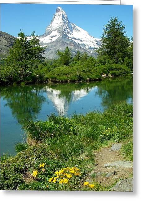 Robert Ford Greeting Cards - Glacial Pond and Matterhorn Reflection Switzerland Greeting Card by Robert Ford