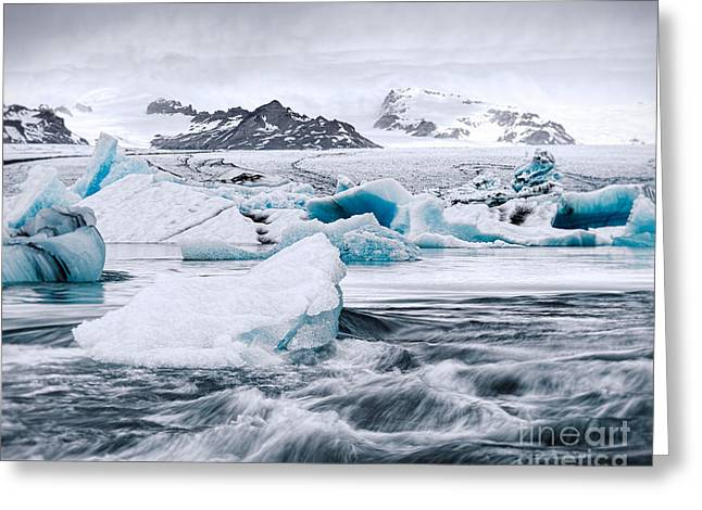 Jökulsárlón Greeting Cards - Glacier and Mini-bergs Greeting Card by Royce Howland