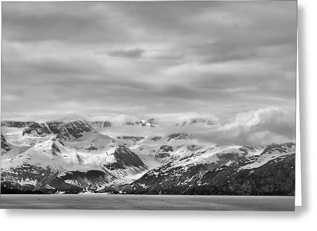 Glacier Bay Greeting Cards - Glacier Bay - Alaska - Landscape - Black and White  Greeting Card by Sharon Norman