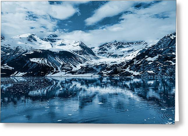 Mountain Reflection Greeting Cards - Glacier Bay - Alaska - Landscape - Blue  Greeting Card by Sharon Norman