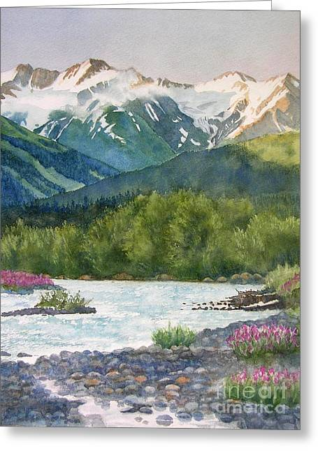 Glacier Greeting Cards - Glacier Creek Summer Evening Greeting Card by Sharon Freeman