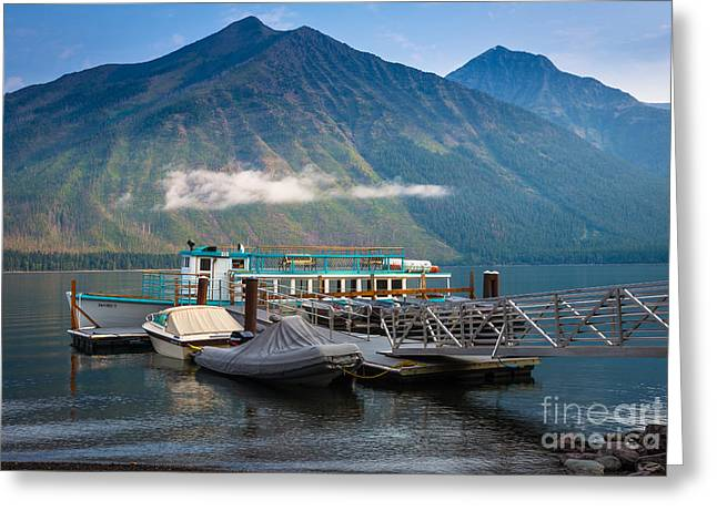 Montana Mountains Greeting Cards - Glacier Ferry Greeting Card by Inge Johnsson