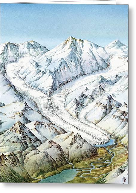 Mound Greeting Cards - Glacier Geography, Artwork Greeting Card by Gary Hincks