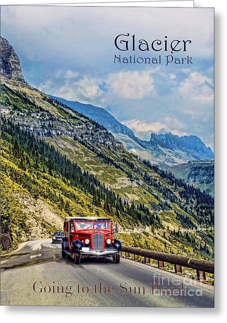 Mountain Road Greeting Cards - Glacier National Park Greeting Card by Jill Battaglia