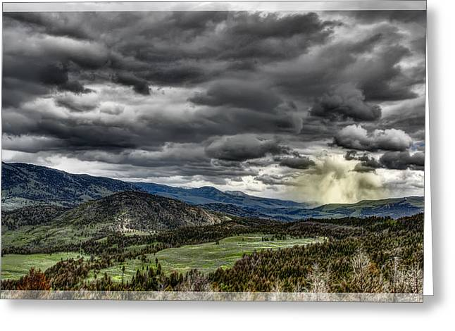 Sun Break Greeting Cards - Glacier Park Valley Storm Greeting Card by Daniel Hagerman