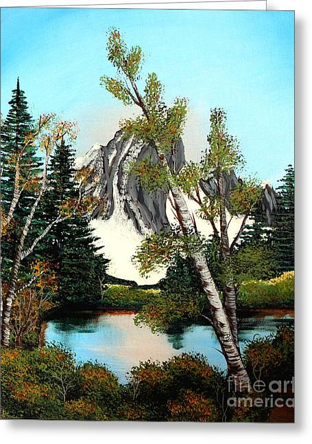 Glacier Peak After Bob Ross Greeting Card by Barbara Griffin