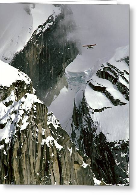 Hanging Mobile Greeting Cards - Glacier Pilot & Plane In Ak Range Greeting Card by Jeff Schultz