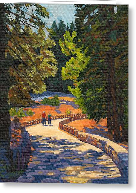 Walk Paths Paintings Greeting Cards - Glacier Point Walk Greeting Card by Alice Leggett