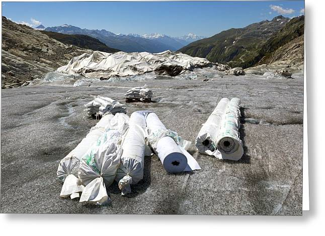 Matting Greeting Cards - Glacier protection Greeting Card by Science Photo Library