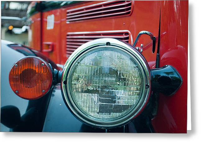 Glacier Red Jammer Headlight Greeting Card by Bruce Gourley