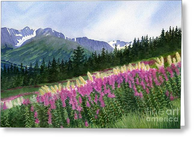 Watercolor! Art Greeting Cards - Glacier Valley Fireweed Greeting Card by Sharon Freeman