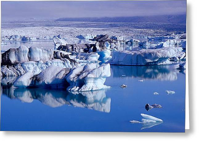 Glaciers Floating On Water, Jokulsa Greeting Card by Panoramic Images